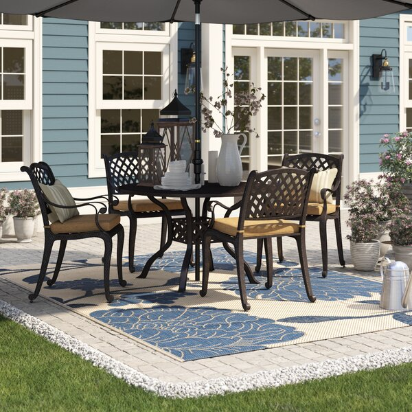 Lincolnville 5 Piece Dining Set with Cushions by Fleur De Lis Living