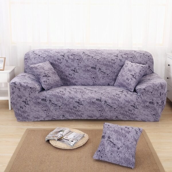 Elegant Polyester and Spandex Box Cushion Sofa Slipcover by Ebern Designs