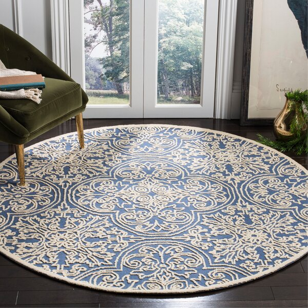 Marys Rustic Hand Tufted Wool Blue Area Rug by Rosdorf Park