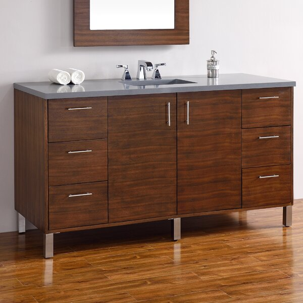 Cordie 60 Single American Walnut Wood Base Bathroom Vanity Set by Orren Ellis