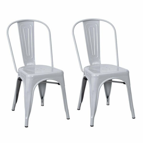 Metal Stackable Chic Dining Bistro Cafe Side Chair (Set of 2) by Homebeez
