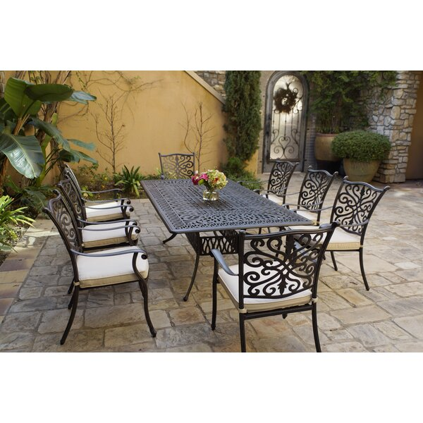 Bunton 9 Piece Dining Set with Cushions by Canora Grey