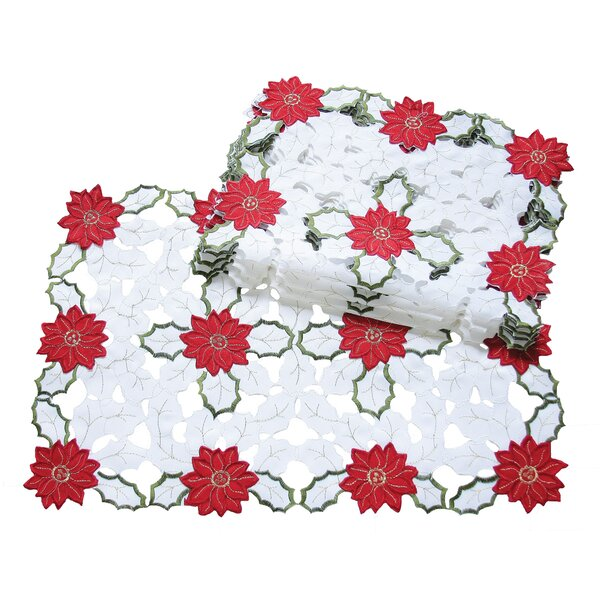Holiday Poinsettia Embroidered Cutwork Placemat (Set of 4) by Xia Home Fashions