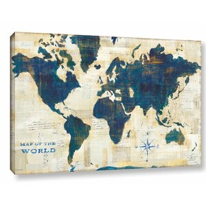 World Map Collage Painting Print on Wrapped Canvas by Ivy Bronx