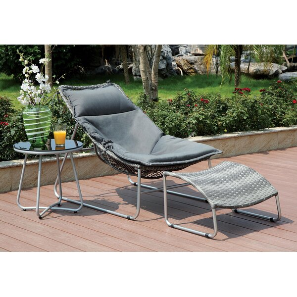 Sorrentino Patio Chair with Cushions and Ottoman by Brayden Studio