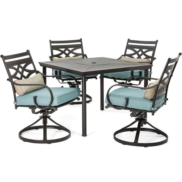 Keaney 5 Piece Dining Set with Cushions by Alcott Hill