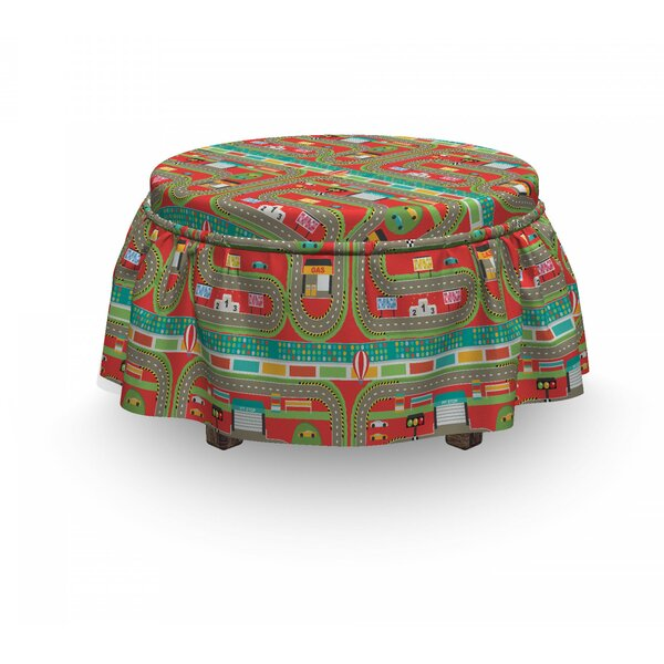Car Race Track Car Design 2 Piece Box Cushion Ottoman Slipcover Set By East Urban Home