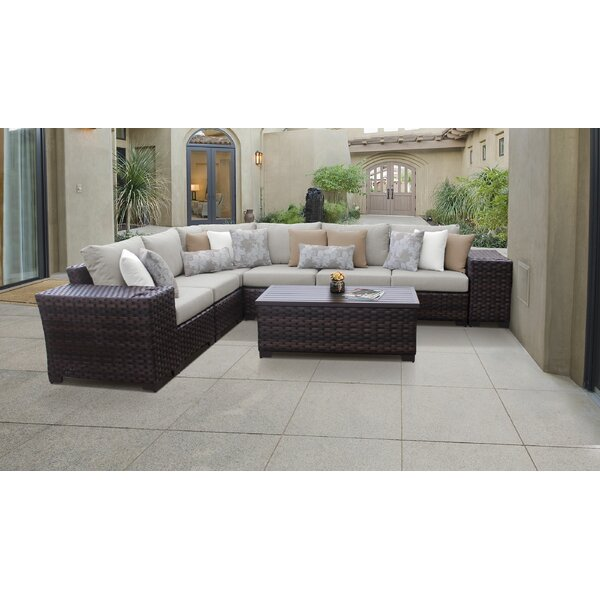 kathy ireland Homes & Gardens River Brook 9 Piece Outdoor Wicker Patio Furniture Set 09a by kathy ireland Homes & Gardens by TK Classics