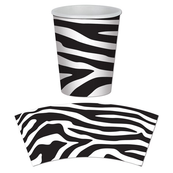 Zebra Print Beverage 9 oz. Cups (Set of 12) by The Beistle Company