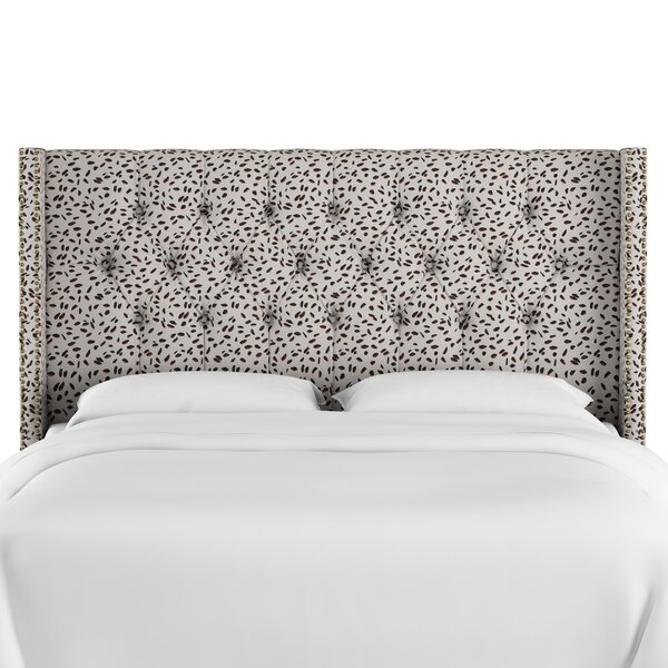 Vernita Diamond Tufted Neo Leo Upholstered Wingback Headboard by Wrought Studio
