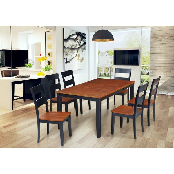 Hassett 7 Piece Extendable Solid Wood Dining Set by Alcott Hill