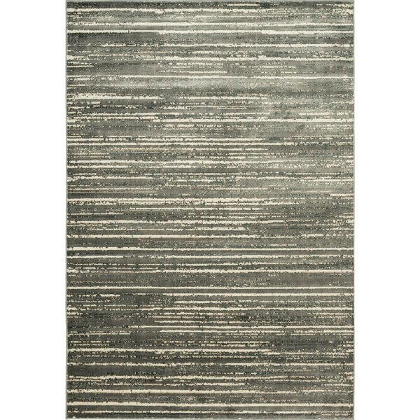 Heflin Stripe Soft Gray/Ivory Area Rug by Williston Forge