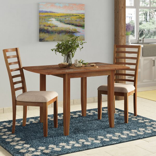 Forsyth 3 Piece Drop Leaf Solid Wood Dining Set by Laurel Foundry Modern Farmhouse