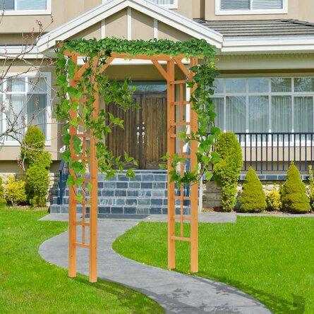 "Garden Arch Trellis 55.1"" W x 23.6"" D Wood Arbor"