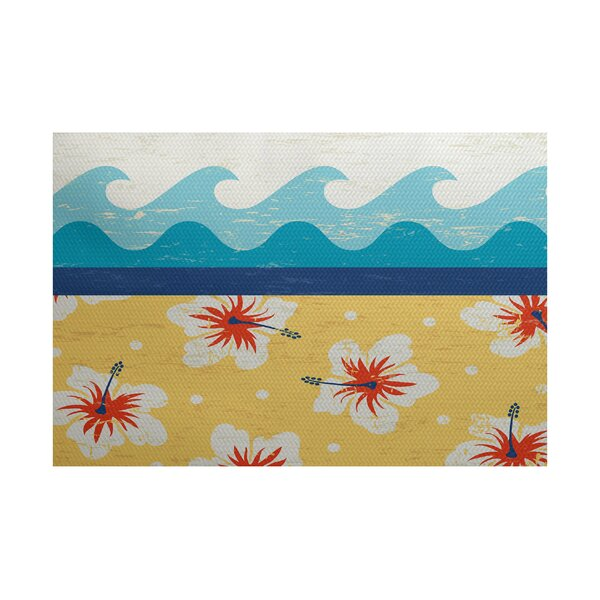 Golden Beach Yellow Indoor/Outdoor Area Rug by Bay Isle Home