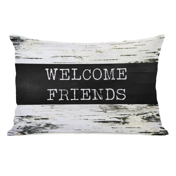 Welcome Friends Birch Lumbar Pillow by One Bella Casa