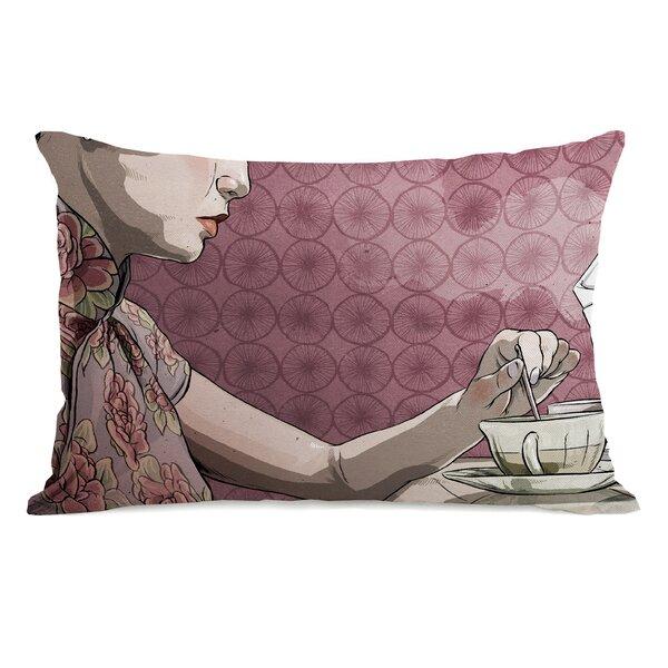 Woman with Tea Lumbar Pillow by One Bella Casa