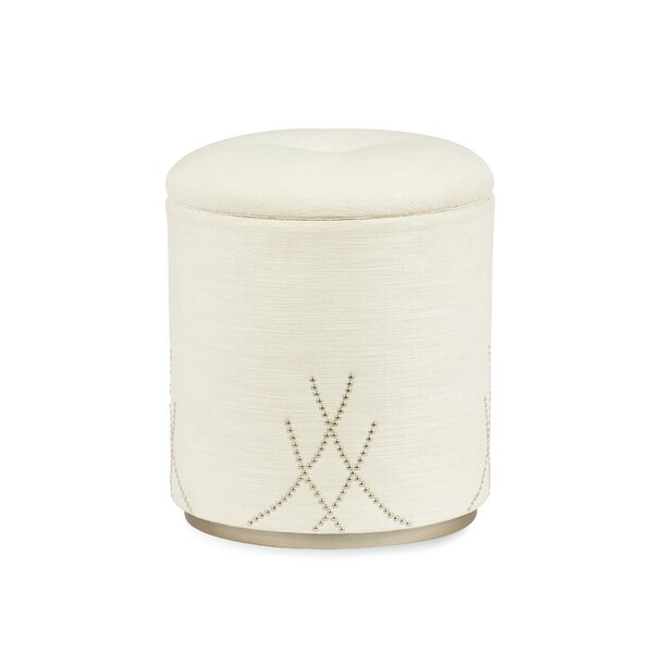 Adela Round Boucle Storage Ottoman By Caracole Compositions