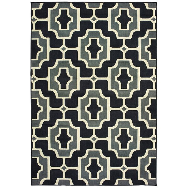 Koffler Geometric Tile Black/Gray Indoor/Outdoor Area Rug by Mercer41