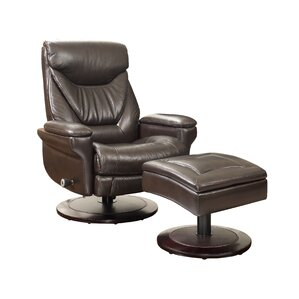 Cinna Leather Manual Recliner With Ottoman by Barcalounger