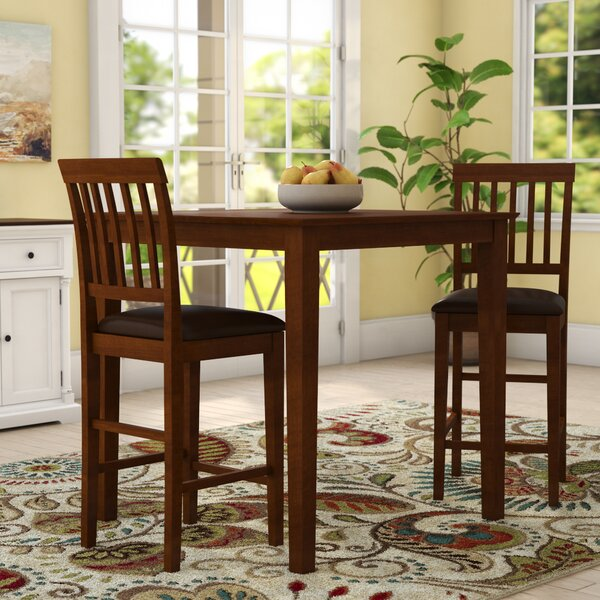 Quinlan Traditional 3 Piece Counter Height Solid Wood Dining Set By Andover Mills