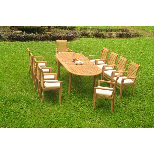 Garfield 11 Piece Teak Dining Set by Rosecliff Heights