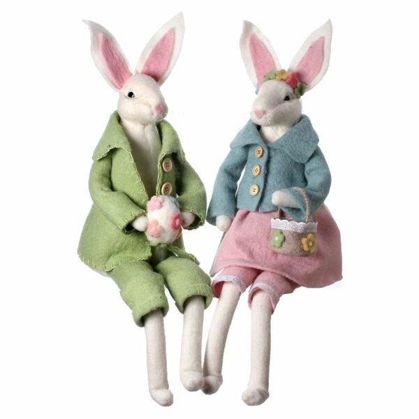 Dvorak Wool Vintage Sitting Bunny Figurine (Set of 2) by The Holiday Aisle