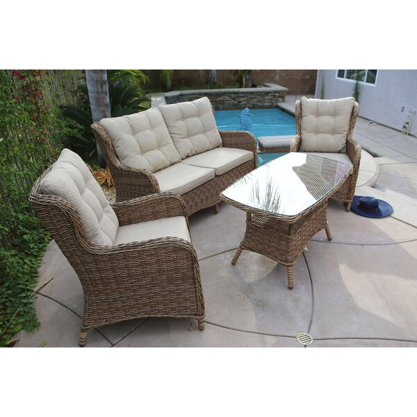 Trappe 4 Piece Sofa Seating Group Set with Cushions by August Grove