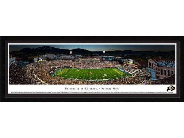 NCAA Colorado Buffaloes Football 50 Yard Line Framed Photographic Print by Blakeway Worldwide Panoramas, Inc