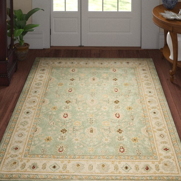Wayland Hand-Hooked Green/Ivory Area Rug by Three Posts
