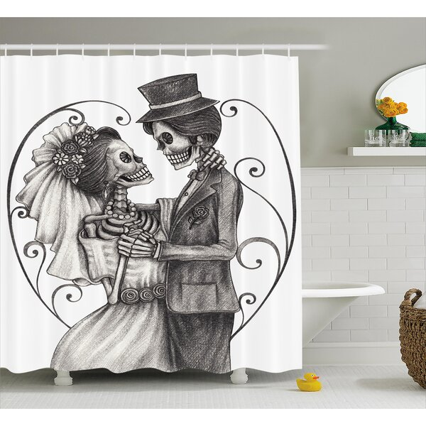 Gale Day of The Dead Love Skull Skeleton Marriage Eternal Love Spanish Festive Art Shower Curtain by Ebern Designs