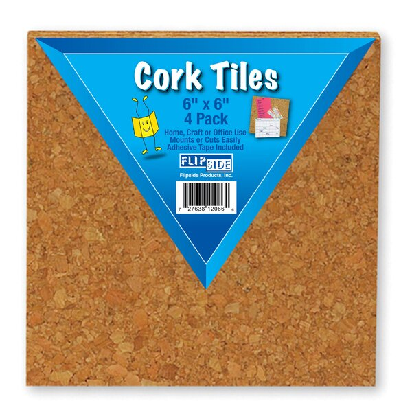 Cork Tiles Wall Mounted Bulletin Board, 6 x 6 (Set of 24) by Flipside Products