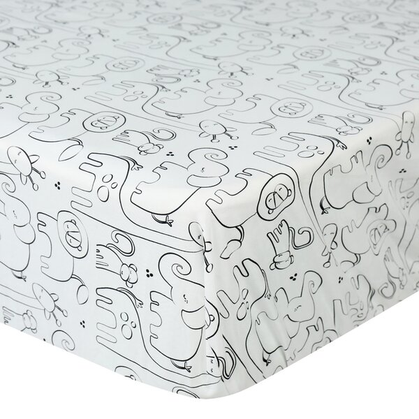 Silhouette Jungle Fitted Crib Sheet by Laugh, Gigg