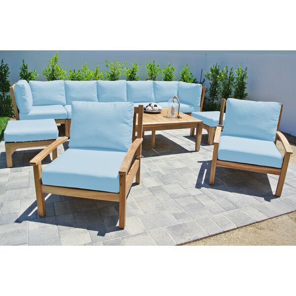 Crescio 10 Piece Teak Sunbrella Sectional Seating Group with Cushions by Foundry Select