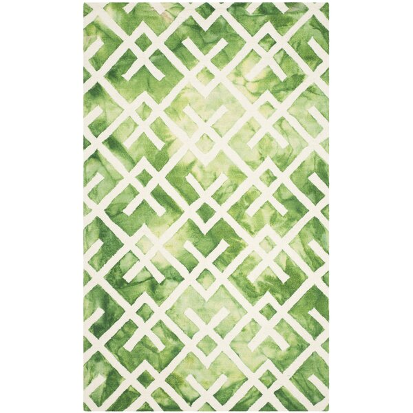 Jawhar Hand Woven Cotton/Wool Green/Ivory Area Rug by Bungalow Rose