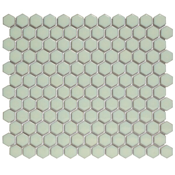 Barcelona 1'' x 1'' Porcelain Mosaic Tile in Glossy Soft Green by The Mosaic Factory