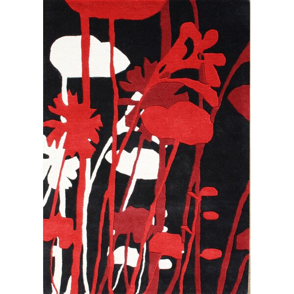 Rupert Hand-Tufted Black/Red Area Rug by The Conestoga Trading Co.
