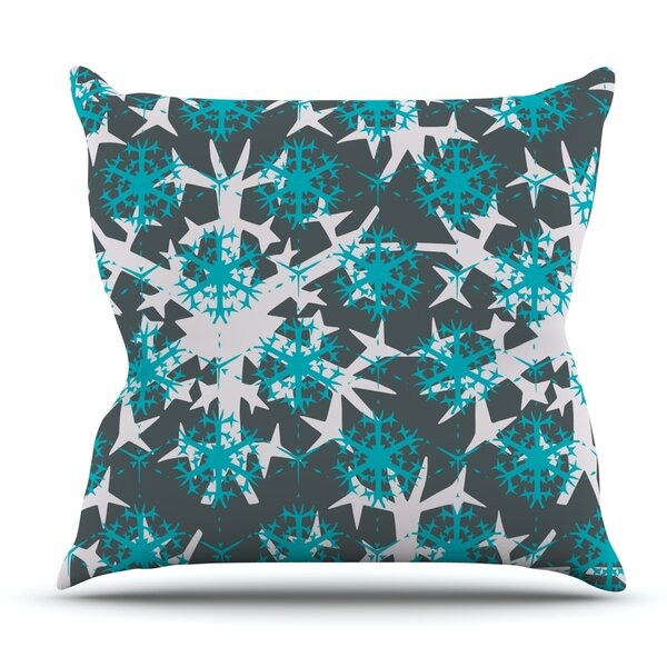Tree Snow Flakes by Miranda Mol Outdoor Throw Pillow by East Urban Home