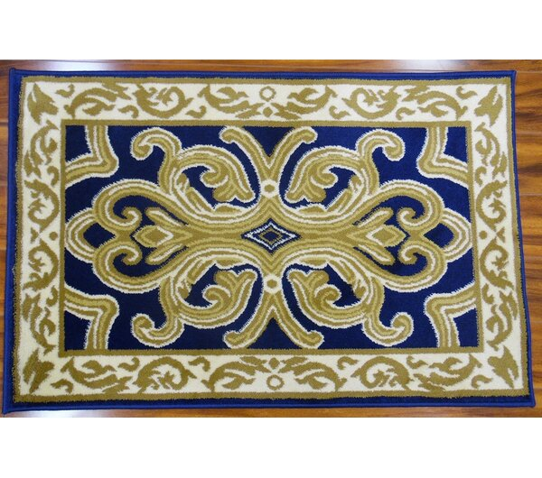 Hampshire Classical Navy/Light Beige Indoor/Outdoor Area Rug by World Menagerie