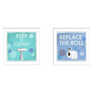 'Replace The Roll' 2 Piece Framed Graphic Art Print Set by Latitude Run