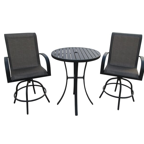 Stjohn 3 Piece Bar Height Swivel Chair Set with Metal Slat Table by Ebern Designs