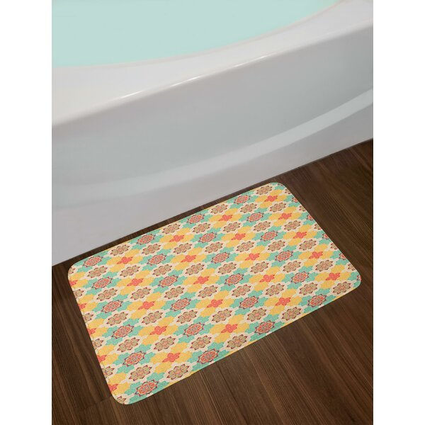 Bohemian African Art Native Culture Elements Folkloric Design Blooming Flowers Bath Rug by East Urban Home