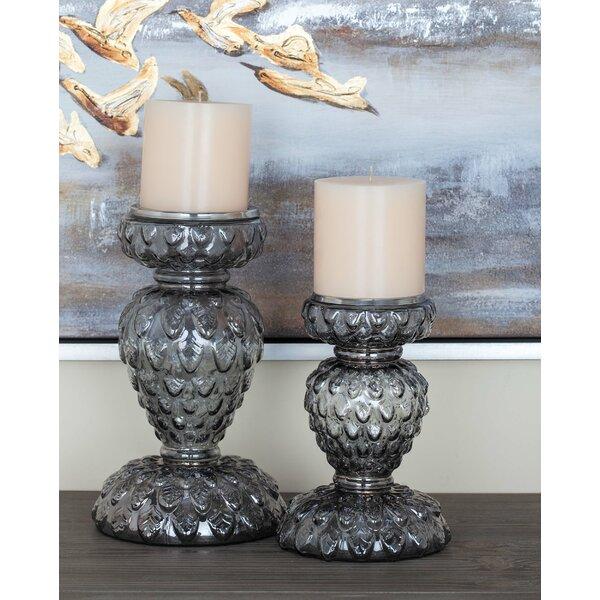 2 Piece Glass Candlestick Set by Cole & Grey