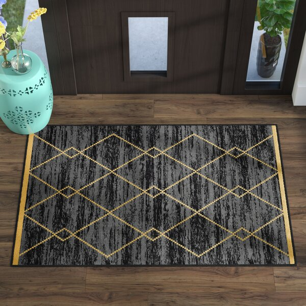 Vathylakas Diamond Trellis Black/Yellow Area Rugs by Beachcrest Home