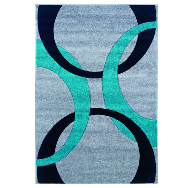 Grey/Turquoise Area Rug by Threadbind