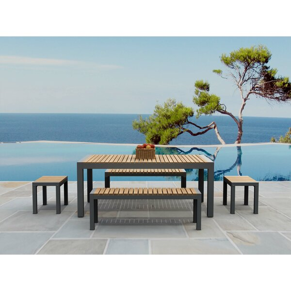 Adamina Rectangular 5 Piece Teak Dining Set by Latitude Run