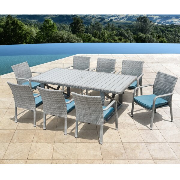 Weber 9 Piece Dining Set with Cushions by Rosecliff Heights