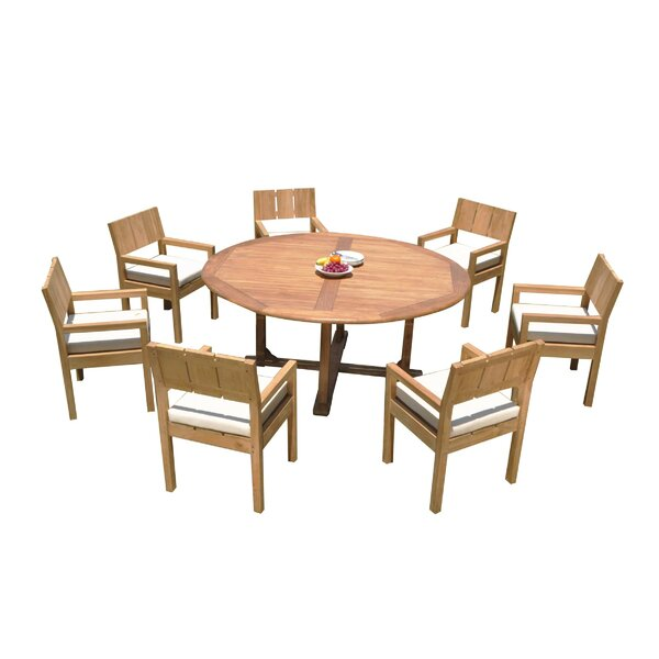 Omari 8 Piece Teak Dining Set by Rosecliff Heights