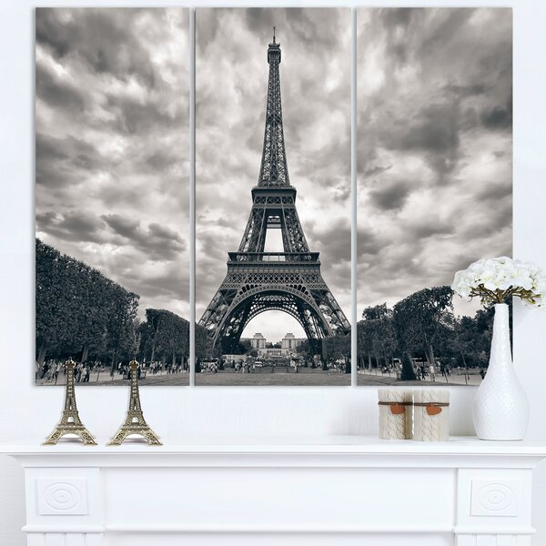 Eiffel Tower Under Dramatic Sky - 3 Piece Photographic Print on Wrapped Canvas Set by Design Art