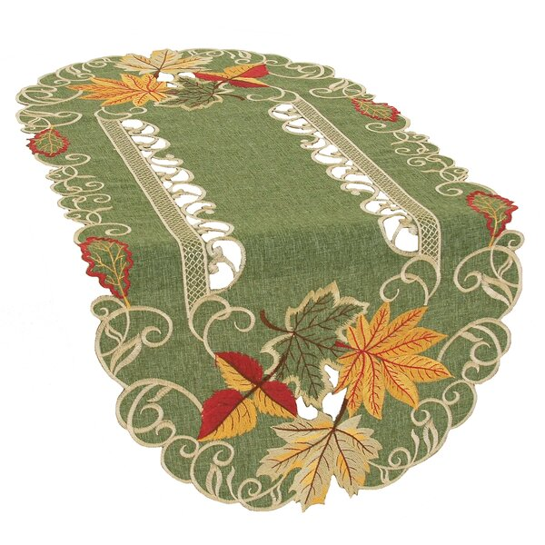 Delicate Leaves Embroidered Cutwork Fall Table Runner by Xia Home Fashions